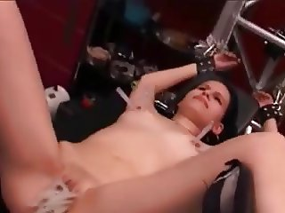 Pinched and waxed nipples and pussy