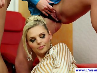 Piss thirsty euro babes sucking cock in group