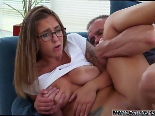 Dad and friend's daughter office sex and