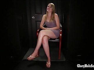 Blonde cock sucker inhales cum in gloryhole