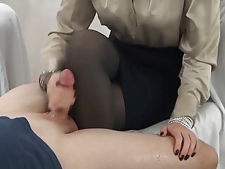 handjob cum on pantyhose leg