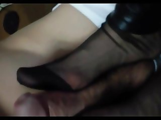 Chinese stocking footjob