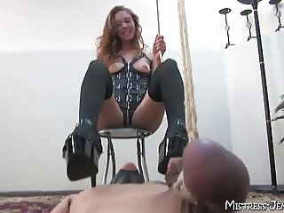 Nasty Femdom Mistress Emily no mercy torment of male slave