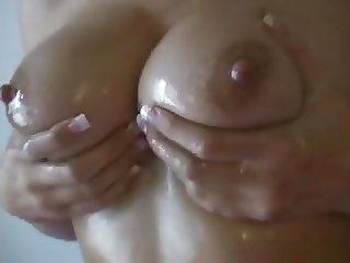 Pretty Brunette Oil On Tits And Ass