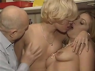 Two Girls with an Old Man