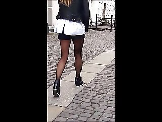 #7 Woman with sexy legs in shorts and black pantyhose