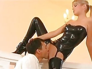 Latex Dominatrix Helps Fufill his Fantasy
