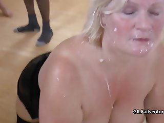 Grandmother and Stepdaugter gangbang party