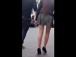 #13 Girl with sexy legs in mini skirt and high heels