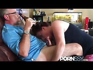 Wife sucks old mans dick