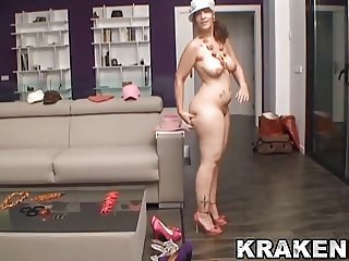 Chubby girl in a funny homemade casting for Krakenhot