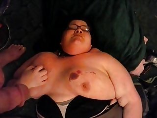 Bbw slave Raindrop in bondage gets pissed on