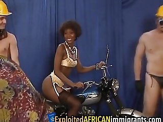 African babe takes two white schlongs roughly