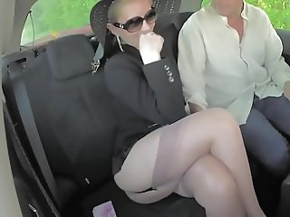 Blonde sexy legs mature milf shows stocking tops