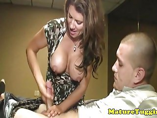 Busty stepmom Leena Sky jerking on cock