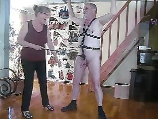 Cock and ball whipping with variose whipps by my Lady