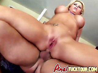 Blonde sucks huge dick which stretched her pussy and asshole