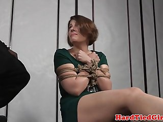 Bound bdsm sub tied and caned by black dom