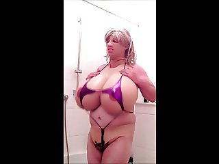 Huge fake Boobs pink mikro Bikini