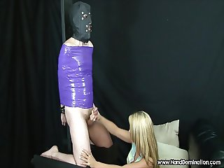 girl has no mercy on cock during femdom handjob
