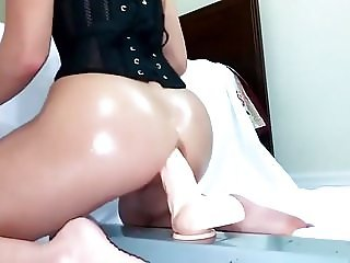 The Anal queen: Riding brutal huge anal dildo