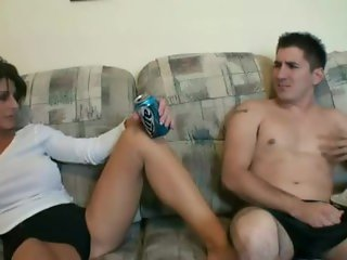 While dad is out hot and horny mom strips and fucks her stepsons big dick
