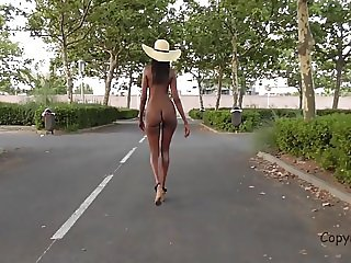 Walking naked in public early in the morning