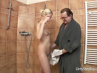 DiryStepDaughter Lewd Stepdad Shower Fucks Stepdaughter