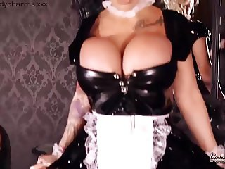 Busty Maid Strips & Masturbates  To Please Her Master