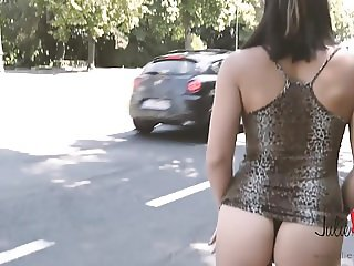 MIRA CUCKOLD PROSTITUTE IN THE STREET in high heels boots