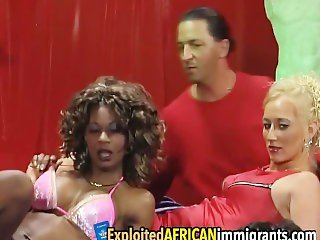 African sluts get banged by big cocks in foursome