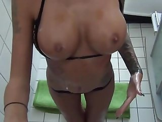 German amateur with oiled tits wants his sperm