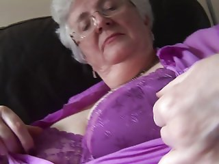 Granny with massive boobs upskirt no panties tease