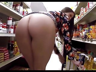 Flashing her body in store