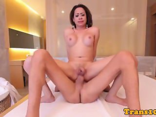 Bathing bigtitted transsexual nailed in ass