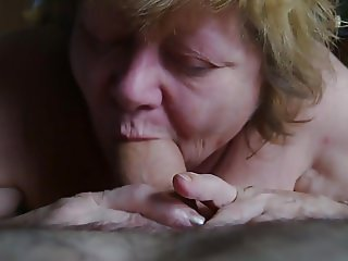 Pro Granny sucking big wide cock