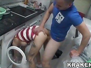 Krakenhot - Submissive Housewife fucked in the kitchen