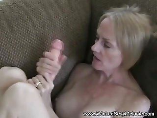 Granny Plays With Dildo and Cock