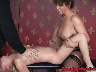 Cuffed bdsm sub dominated with strapon in ffm