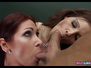 Redhead Cougars share a Dick