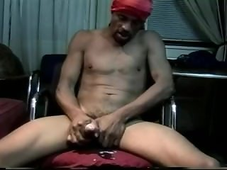 Jerking off black cock all alone