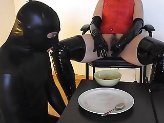 Mistress forcing her slave to eat