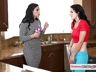 Femdom milf punishes stepteen with a vibrator