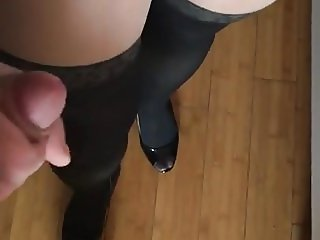 my wife- nice ass, nylons, heels and cumshot