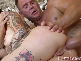 Pussyfucked alt beauty screwed outdoors