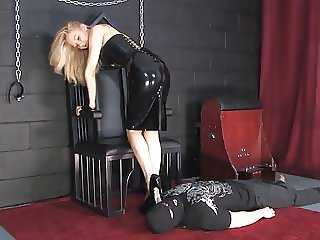 Blonde Latex Mistress Sounding Cock 02