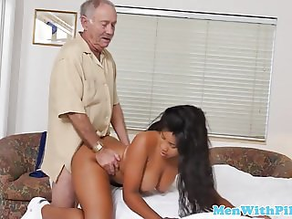 Young beauty firsttime riding grandpa cock