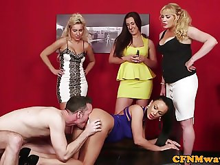 British cfnm milfs dominate sub dick in group