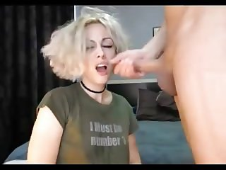 Blonde girl fucked balls deep in her mouth