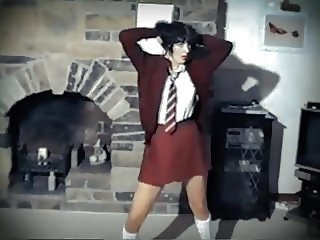 ONE WAY OR ANOTHER - British schoolgirl uniform strip dance